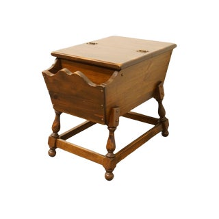 """20th Century Traditional Ethan Allen Antiqued Pine Old Tavern 20x29"""" Doughbox Accent Table For Sale"""