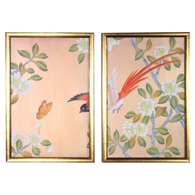 Orange Rose Gold Silk Chinoiserie Wallpaper Diptych Paintings - 2 Pieces For Sale - Image 8 of 8