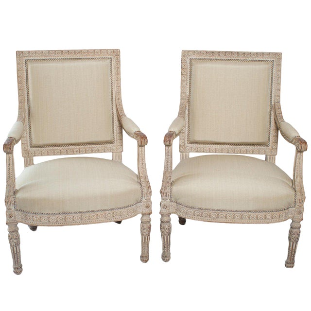 Pair of Unusual Large Square Back Louis XVI Style Fauteuils For Sale