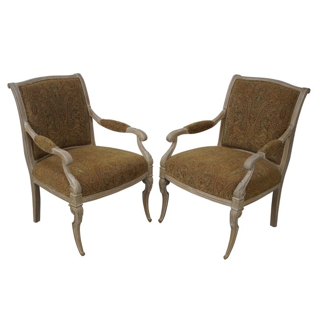 Regency Style Paisley Armchairs - A Pair - Image 1 of 10