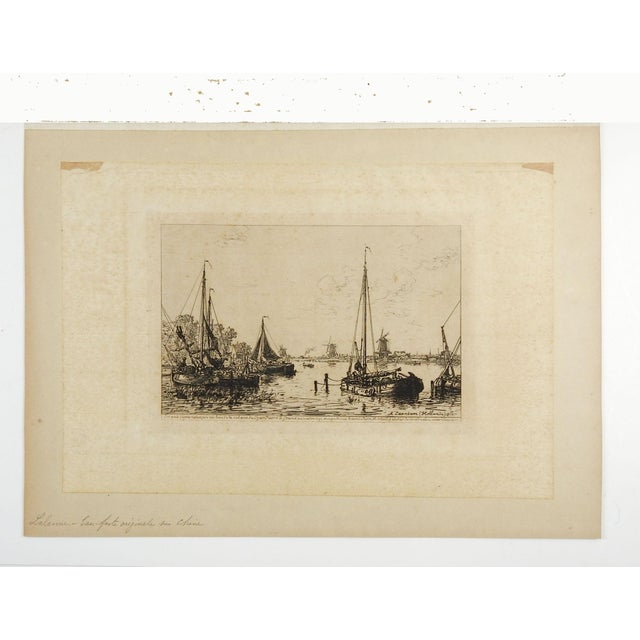 Mediterranean Dutch Harbor Scene Etching 1877 For Sale - Image 3 of 4