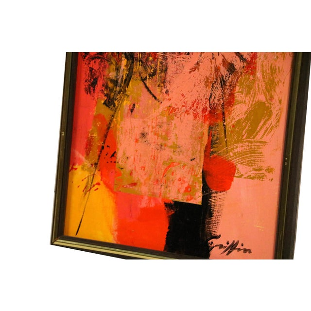 "Mid Century Abstract Expressionist Oil paintings signed ""Griffin"" - a Pair For Sale In Baltimore - Image 6 of 11"