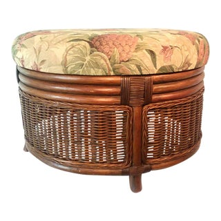 Mid-Century Bamboo Rattan Upholstered Tapestry Footstool Ottoman For Sale