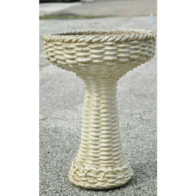 "Vintage Mid 20th Century Cement Concrete Basketweave Small Garden Birdbath. Circa Mid 20th Century. Measurements: 22"" H x..."
