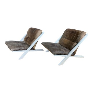 "Pair Swiss Leather ""X-Chair"" by Ueli Berger for De Sede, 1970s For Sale"