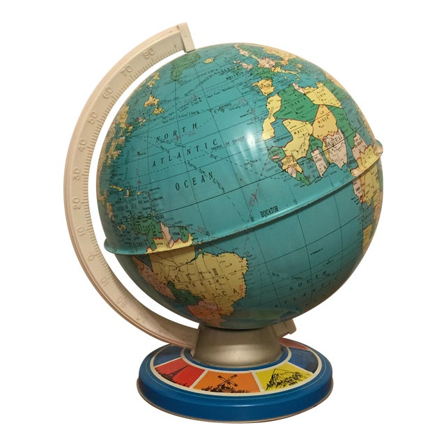 Vintage Ohio Art Tin Lithograph Metal Globe - Image 1 of 5