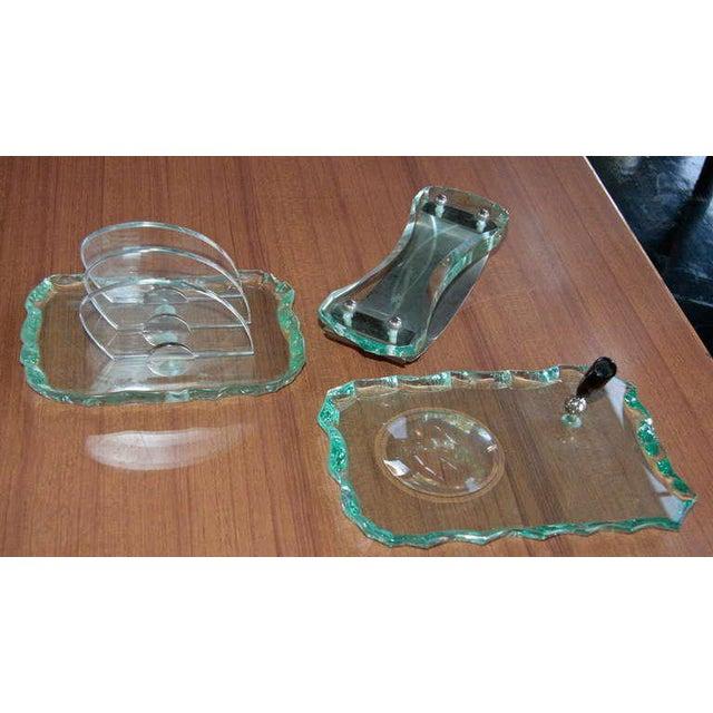 Glass Fontana Arte Desk Set 1960 For Sale - Image 7 of 11