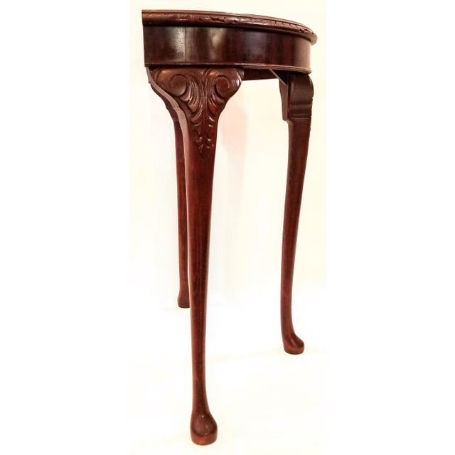 English Edwardian Flame Mahogany Topped Georgian Style Demi-Lune Console Table For Sale In San Diego - Image 6 of 9