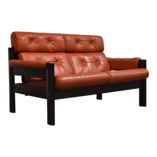 Percival Lafer Style Salmon Leather Loveseat Sofa For Sale