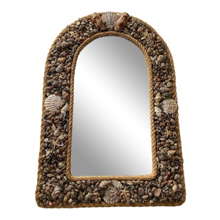 20th Century Arched Natural Shell Mirror For Sale