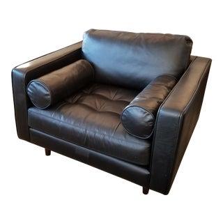 Oxford Black Leather Armchair