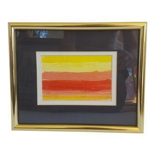 Original Abstract Acrylic Sunrise Painting Framed