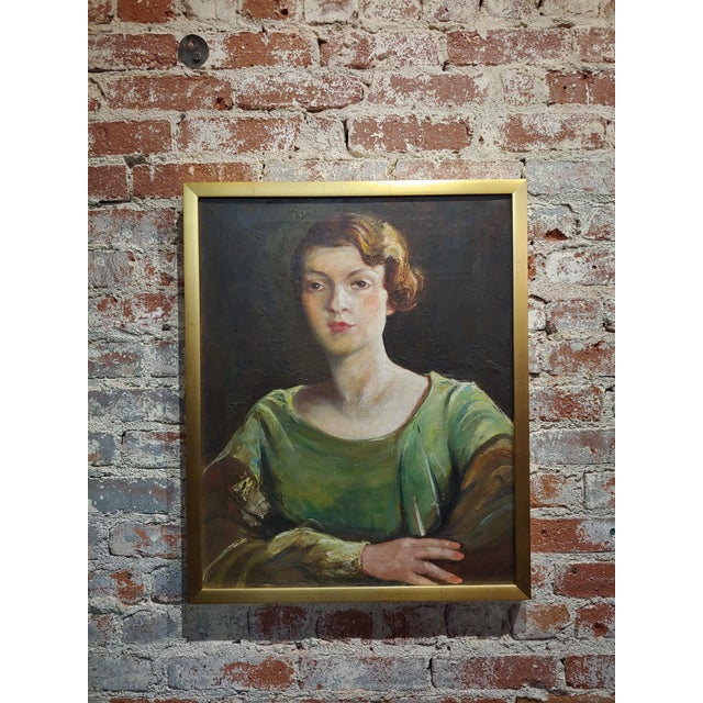 Antonia Greene -1920s Portrait of a Woman in Green -Oil Painting For Sale - Image 9 of 9