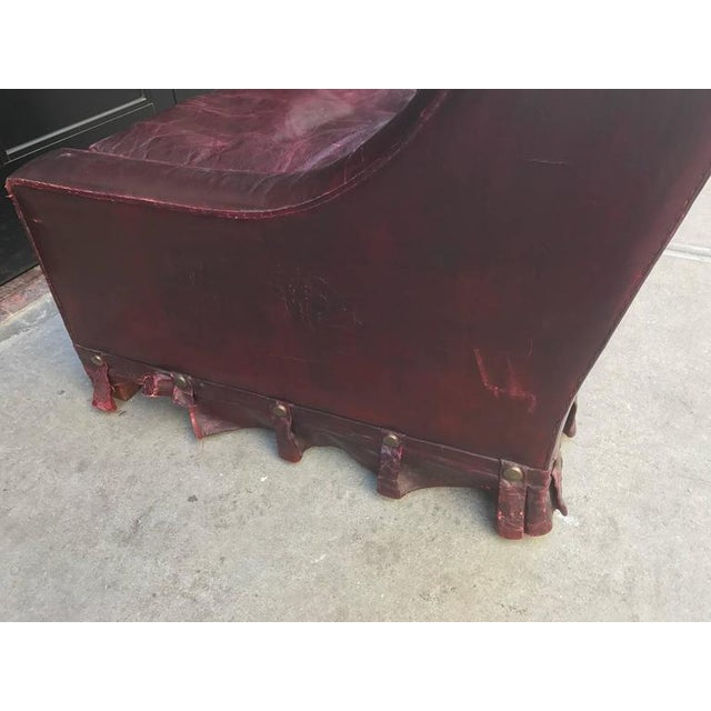 Red French Vintage Leather Lounge Chair For Sale - Image 8 of 9