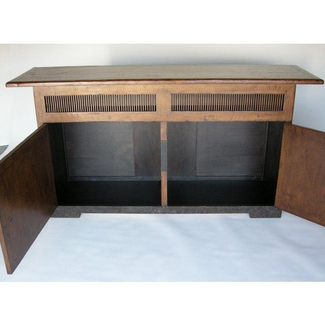 Custom Walnut Wood Media Console on Iron Base For Sale - Image 4 of 9