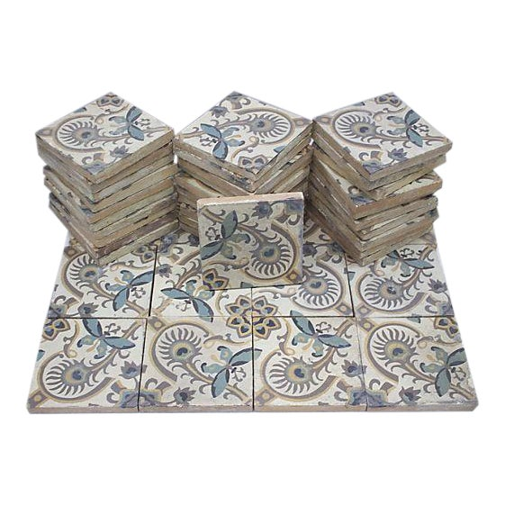 Antique French Salvage Cement Tiles - 40 Pieces For Sale