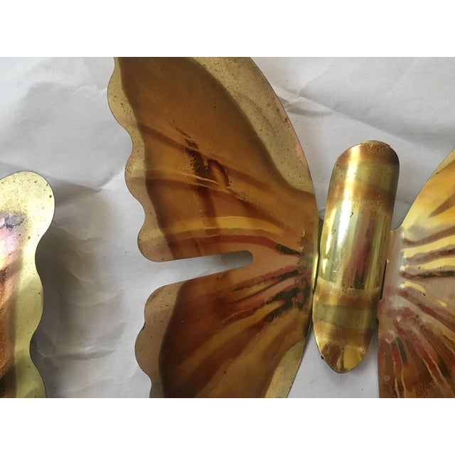 1970s Brass Butterfly Wall Hangings- Set of 3 - Image 4 of 5