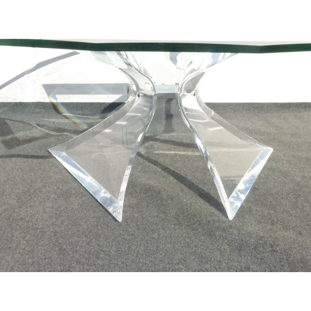 Lion in Frost Triple Butterfly Lucite Coffee Table For Sale In Los Angeles - Image 6 of 11