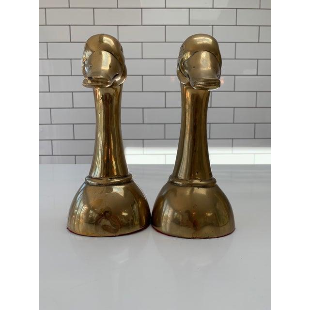 Mid-Century Modern Vintage Mid Century Modern Oversized Brass Mallard Duck Bookends - a Pair For Sale - Image 3 of 8