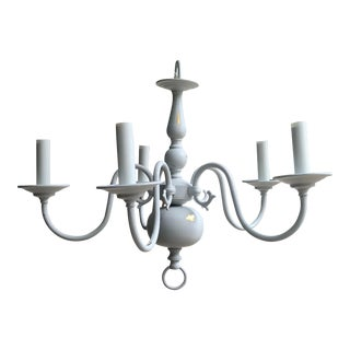 Vintage Brass Distressed Painted 5 Candle Chandelier For Sale