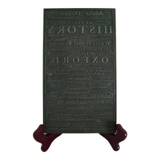 Mid 19th Century Oxford University Press Book Printing Plate For Sale