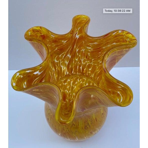 Vintage Murano mottled spatter yellow orange ruffled rim art glass vase. 6 1/2 x 7 x 11 1/2