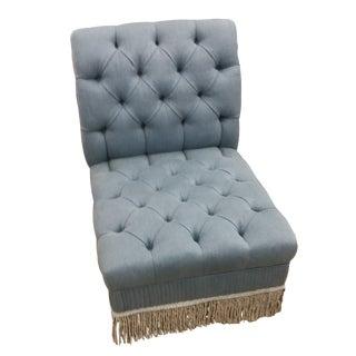 Modern Tufted & Fringe Slipper Chair For Sale