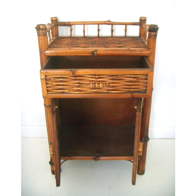 Vintage Oriental Bamboo Cane Storage Cabinet - Image 4 of 6