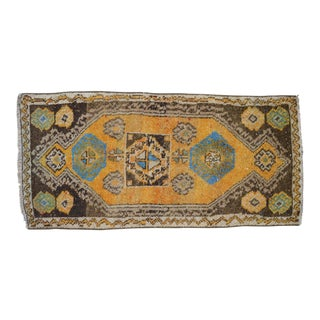 Distressed Low Pile Oushak Yastik Rug Faded Colors Vintage Petite Rug - 22'' X 45'' For Sale
