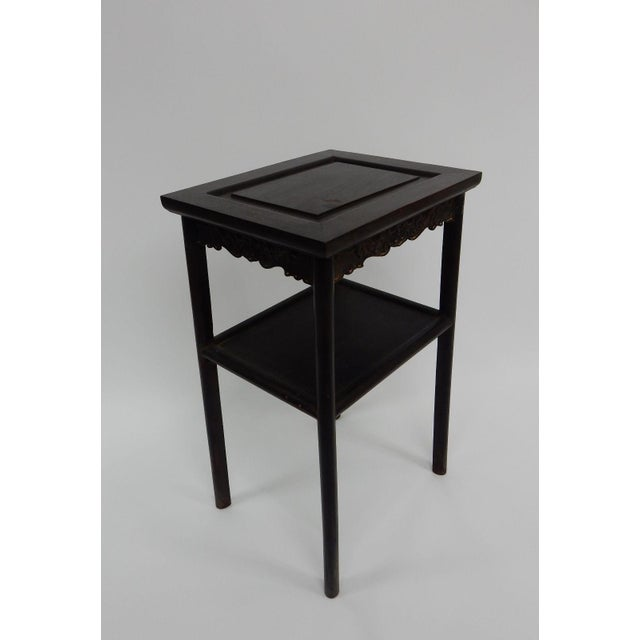 Antique Chinese Zitan Two-Tier Wood Side Table For Sale - Image 6 of 11