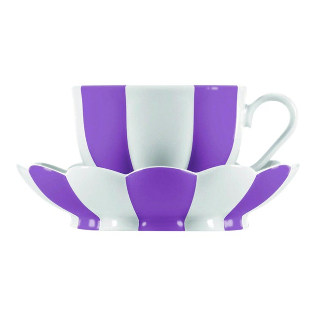 """Melon"" Mocha Cup with Saucer by Josef Hoffmann Violet For Sale"