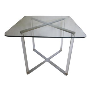 Glass Top Chrome & Lucite Table