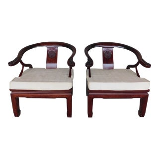 Vintage Chinese Ming Style Rosewood Arm Chairs - a Pair For Sale