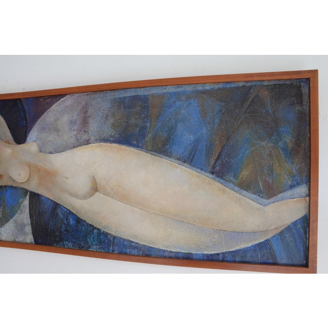 Amedeo Clemente Modigliani Modigliani Style Reclining Nude Original Oil Painting, Framed Early 1900's Russia For Sale - Image 4 of 6