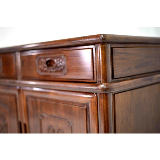 1990s Vintage Rosewood Effect Chinoiserie Credenza Server Cabinet For Sale - Image 5 of 13