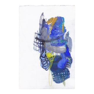 """Hello #6 (Blue)"" Figurative Mixed-Media Collage on Paper For Sale"