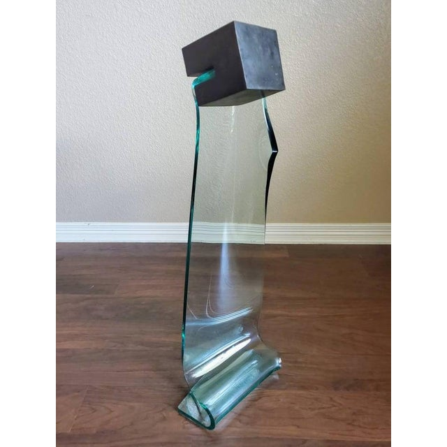 "Mary Shaffer Slumped Glass & Bronze Sculpture ""From Cube #9"" Signed For Sale - Image 4 of 10"