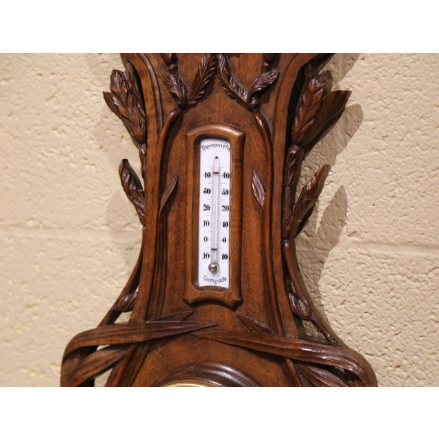 19th Century French Black Forest Carved Walnut Barometer With Foliage Decor For Sale - Image 4 of 7