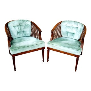 1960's Seafoam Green Velvet Cane Back Lounge Chairs - a Pair For Sale