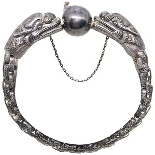 1940s Chinese Sterling Dragon Bracelet For Sale