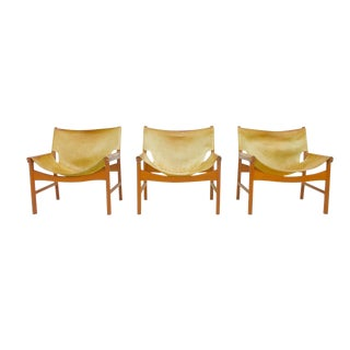 Rare Set of Three Lounge Chairs by Illum Wikkelsø for Mikael Laursen, 1972 For Sale