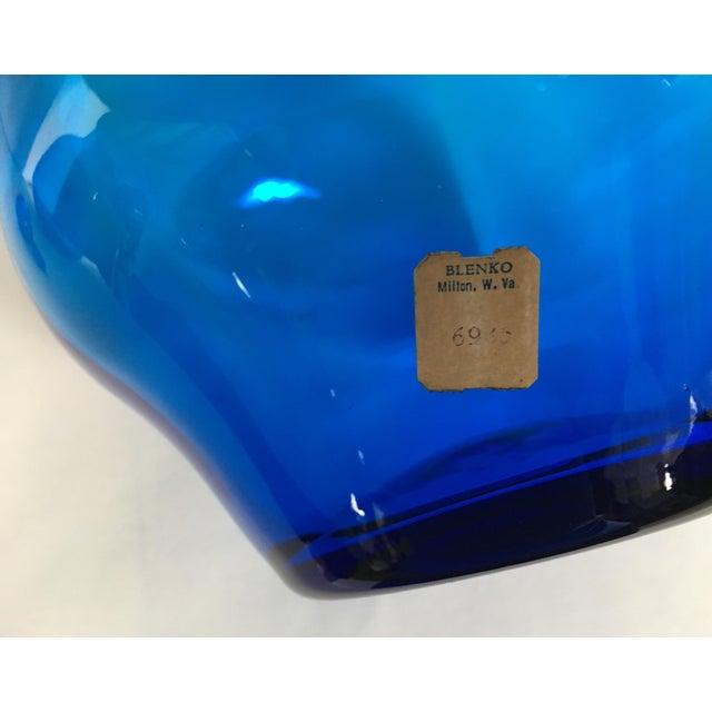 Blown Glass 1969 Mid-Century Modern Blenko Cobalt Blue Decanter For Sale - Image 7 of 9