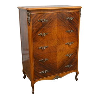 Vintage 1930s French Louis XV Style Walnut Tall Chest