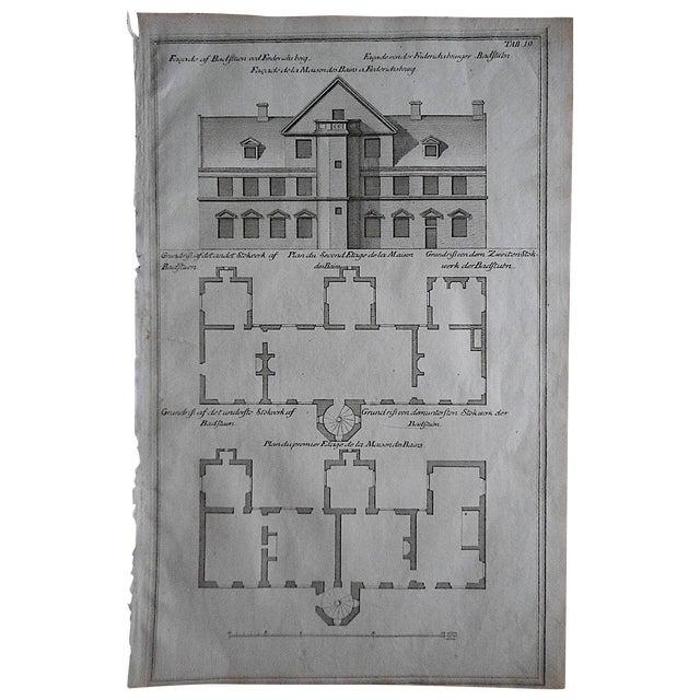 Antique Engraving Facade & Floorplan Lg. Folio For Sale