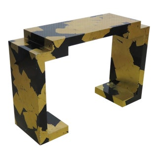 James Mont Style Mid-Century Modern Gold Leaf and Ebonized Console Table For Sale