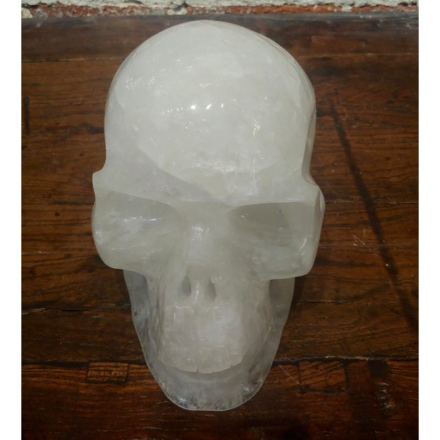 American Vintage Quartz Rock Crystal Skull Sculpture For Sale - Image 3 of 11