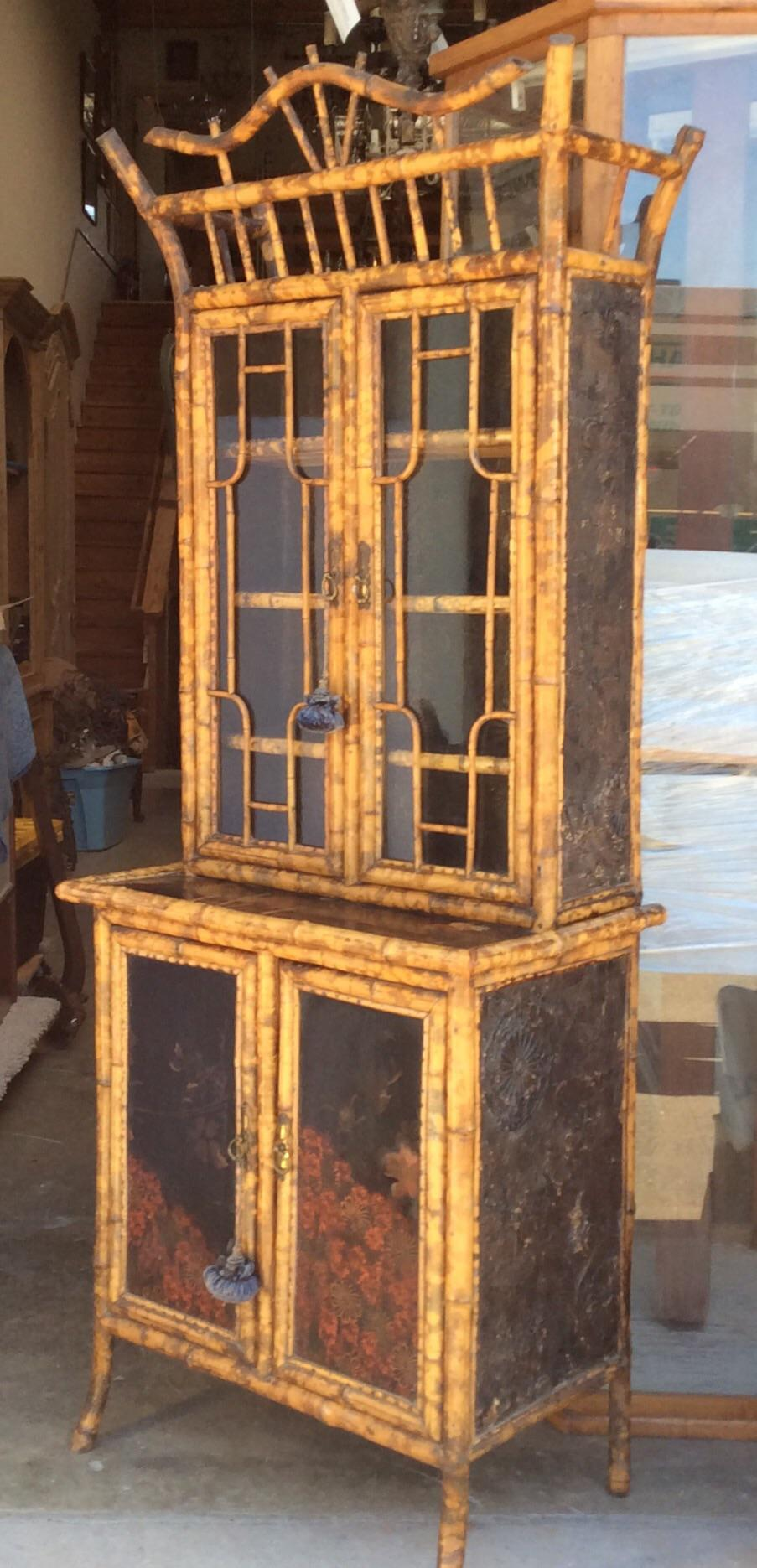 Antique Bamboo Cabinet   Image 2 Of 11