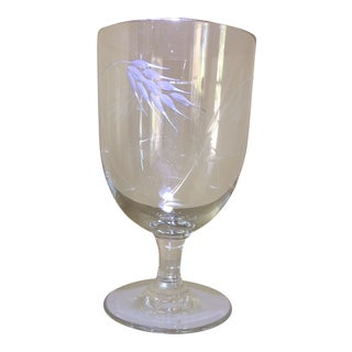 "Crystal Cocktail Glasses by Noritake Sasaki ""Etched With Wheat"" - Set of 13"