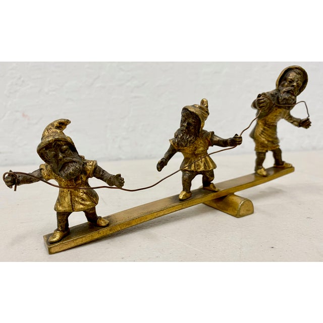 Traditional Early 20th C. Gilded Bronze Sculpture of Three Balancing Dwarf's For Sale - Image 3 of 5