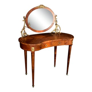 French Inlaid Walnut and Bronze Dressing Table With Candleabra Arms For Sale